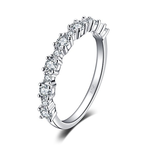 JewelryPalace 0.6ct Cubic Zirconia Anniversary Half Eternity Wedding Band Stacking Ring 925 Sterling Silver Size - 925 Ring Silver Anniversary