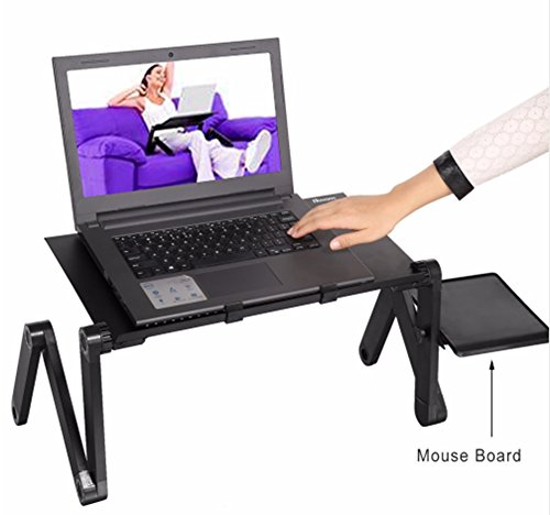 F&W Computer Desk Portable Folding Laptop Desk Aluminum Office Portable Bracket Lazy Bed Computer Cooling Base by F&W