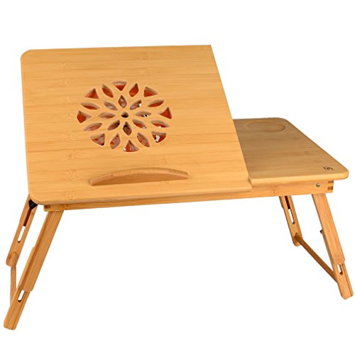 Nicely Neat Cooling Desk for Laptop, Foldable Bamboo Laptop Table, Bed Tray, Stand with USB Cooling Fan, 22 Inches, Lapdesk