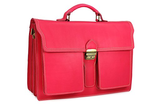 Belli Design Bag B - Maletín italiano unisex, piel, 40 x 30 x 14 cm (an. x al. x pr.), varios colores Rosa - rosa