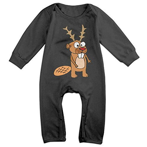 Mri-le1 Baby Girls Long Sleeved Coveralls Cute Beaver with Reindeer Antlers Infant Long Sleeve Romper Jumpsuit