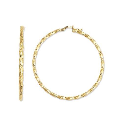 df422e30d80e 14 K amarillo oro brillante diseño redondo del aro del pendiente de corte  de diamante  Amazon.es  Joyería