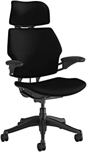 "Humanscale Freedom Task Chair with Headrest | Graphite Frame, Corde 4 Black Fabric Seat | Height-Adjustable Duron Arms | Standard Foam Seat, Hard Casters, and 5"" Cylinder"