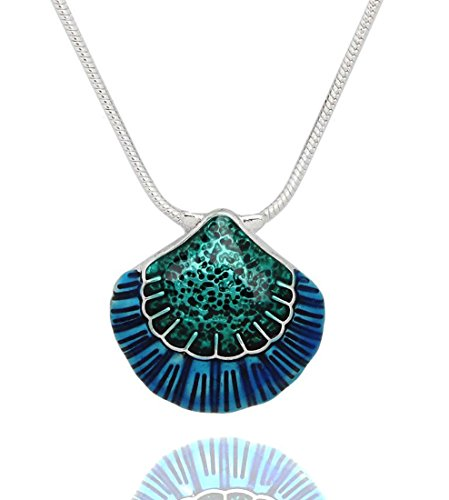 DianaL Boutique Gorgeous Blue Seashell Pendant Necklace with 21