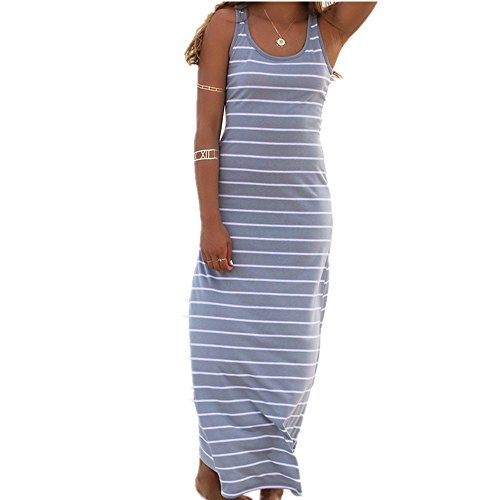 Roselux Women's Sleeveless Scoop Neck Striped Loose Long Dress(Gray,S)