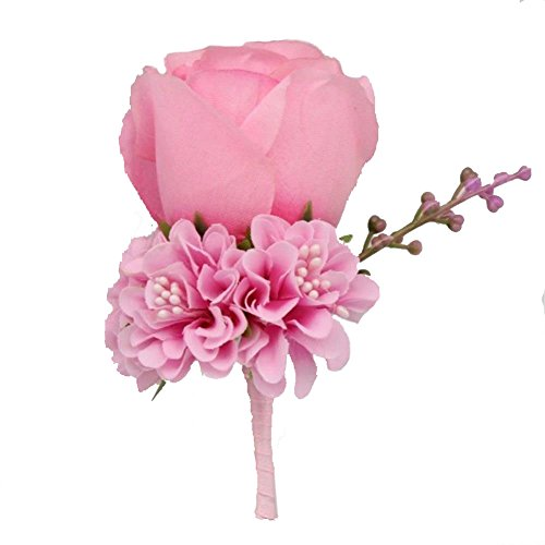 (WeddingBobDIY Boutonniere Buttonholes Groom Groomsman Best Man Rose Wedding Flowers Accessories Prom Suit Decoration Pink)