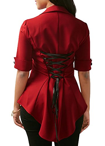 Womens Tops Peplum Sexy Vintage Lapel Lace Up Criss Cross Empire Waist Blouse