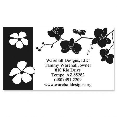 Onyx Blossom Business Cards - Set of 250 2'' x 3-1/2 custom business card design; 80# Cover Stock, Opaque, Matte