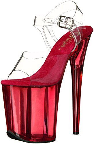 Pleaser Women's Flamingo-808t Flatform Sandals, Reds Transparent (Clr/Red Tinted)