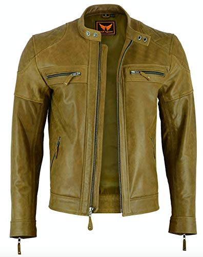Mens Classic Vintage Two Tone Genuine Top-Grain Cowhide Bicker Leather Jacket (Brown, Small)