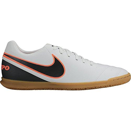 Nike Men's Tiempo Rio III Ic Footbal Shoes, Black Multicolour - Blanco / Black / Naranja (Pure Platinum / Black-hypr Orng)
