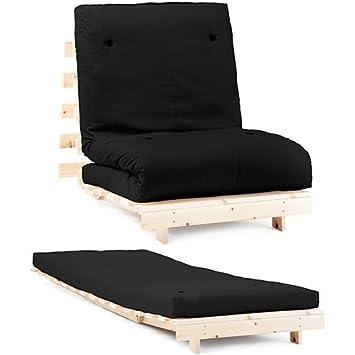 Changing Sofas Negro Premier algodón de Sarga Individual para futón 1 plazas armazón de Base de Madera con colchón Juego de sofá Cama: Amazon.es: Hogar