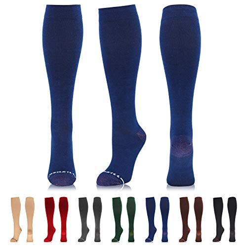 NEWZILL Compression Dress Sock (15-20 mmHg) for Men & Women - Cotton Rich Comfortable Socks - Best Stockings for Business Casual, Running, Medical, Athletic, Edema, Diabetic (Dark Blue, S/M) ()