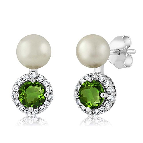 - Gem Stone King 1.30 Ct Green Chrome Diopside Cultured Freshwater Pearl Sterling Silver Earrings