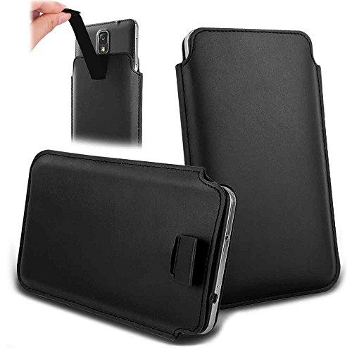Handytasche für Smartphones zwischen 143x73x7mm bis 151x79x10mm aus strapazierfähigen Kunstleder. Schöne Handyhülle mit bedruckten Designs / Motiven und Ausziehschlaufe. Farbe : schwarz