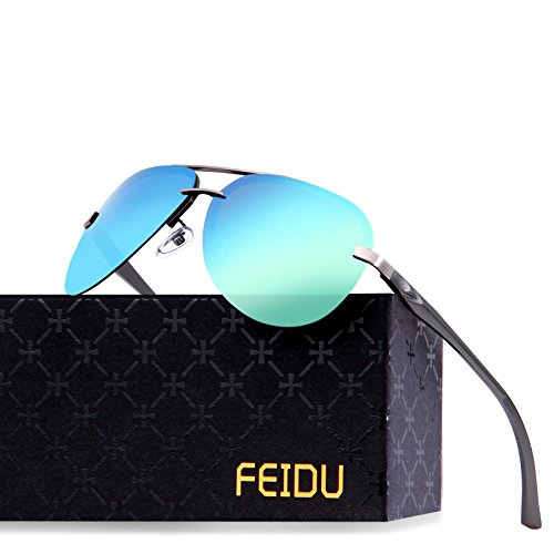 FEIDU Mens Polarized Aviator Sunglasses Metal Frame Unisex Sun Glasses - Sunglasses Italian Mens