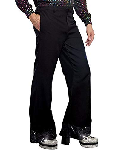 inlzdz Men's Sequin Disco Dude Costume 70's Funky Cuff Bell Bottom Pants Flared Long Trousers Black -