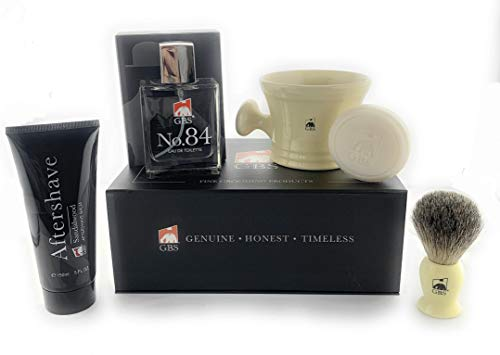 - GBS Men's Shaving Set - No.84 Cologne, Ivory Handle Pure Badger Bristle Shaving Brush, Ivory Ceramic Shave Mug with Sandalwood Shaving Soap, and Aftershave - Produce the Ultimate Wet Shave