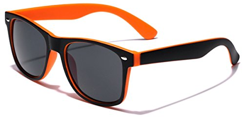 Classic Retro Fashion 2 Tone Sunglasses - Black & - Cheap Orange Sunglasses