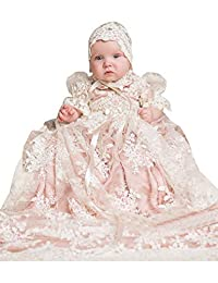 Aorme Infant Toddler Baby Girls Christening Gown Dress Long Lace Tulle