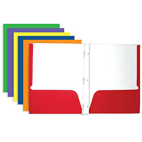 - BAZIC 2-Pocket Portfolio Folder with 3-Prong Fastener for School, Home, or Office (Assorted Colors. Case of 100)
