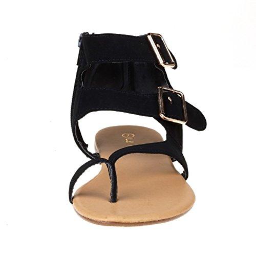 Dream Pairs Crox Nieuwe Dames Open Teen Fashion Crisscross Valcre Enkelbandjes Zomer Design Platte Sandalen T-zwart