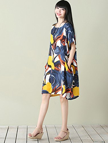 Mordenmiss Women's Summer Short Sleeve Abstract Printing Dress XL Style 3-Blue by Mordenmiss (Image #2)
