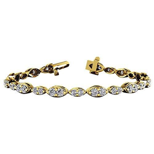 Dual Marquise Link Tennis Bracelet In 14K Yellow Gold Plated .925 Silver 2.00 Ct Round Cut Simulated Diamond - 14k Marquise Bracelet