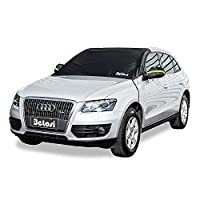 """Belosi Car Windshield Snow Cover, Sun Shade Protector Elastic Mirror Covers,Dual-Secure Fixture Design,Waterproof Small Cars,Standard Pickup,SUV - (85"""" X 49"""")"""