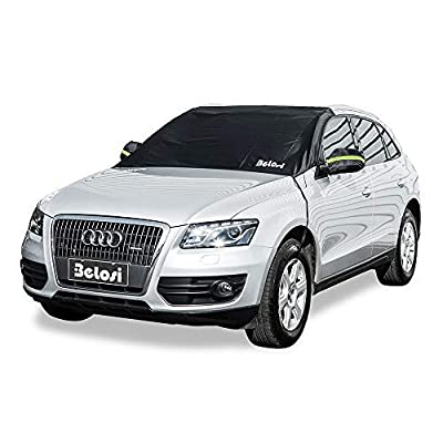 """Belosi Car Windshield Snow Cover, Double-Side Design Sun Shade Protector with Elastic Mirror Covers,Dual-Secure Fixture Design,Waterproof for Small Cars,Standard Pickup,SUV - (85"""" X 59""""X51"""")"""