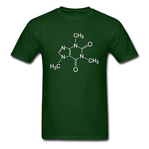 (Spreadshirt Caffeine Molecule Chemistry Humor Men's T-Shirt, XL, Forest Green)