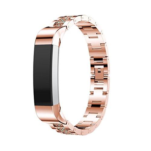 Allies Watch Ladies (HP95(TM) For Fitbit Alta Band Accessories,HP95 Women Luxury Rhinestone Wrist strap Replacment Alloy Crystal Watch Band For Fitbit Alta HR/Fitbit Alta (Rose Gold 1))