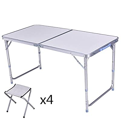 Xing Lin Table D'Extérieur Le Président De La Table De Pique-Nique En Plein Air, Table Et Chaise Pliante En Alliage D'Aluminium Peut Accueillir Le Billet D'Activités De Plein Air, Double Blanc +4 St