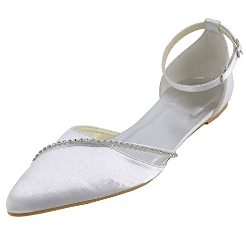 Minitoo GYMZ693 Womens Comfortable Satin Evening Party Prom Bridal Wedding Shoes Pumps Sandals Flatfs White-1.5cm Heel 5cPQnUh