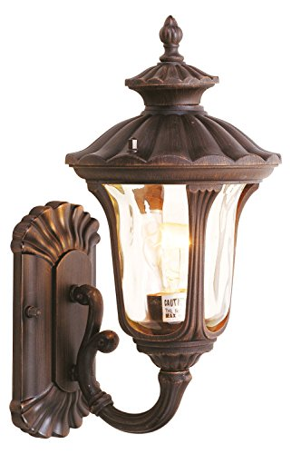 (Imperial Bronze 1 Light 100W up Lighting Wall Sconce with Medium Bulb Base and Iced Cased Glass from Oxford Series)