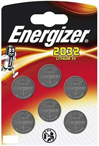 Paquete de 6 Pilas cr 2032 3v Energizer - Pila tipo botón de litio especial para dispositivos electrónicosy baterías, paquete de 6.