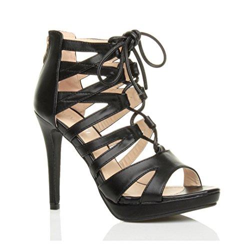 punta Donna a scarpe numero aperte alto sandali Nero Opaco tacco cerniera lampo stringhe rxZrqY0w