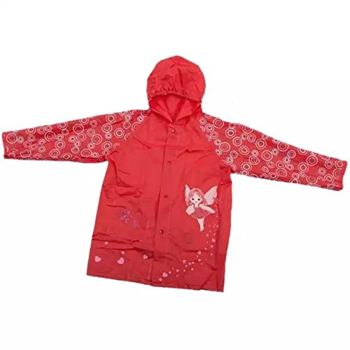 Price comparison product image Ezyoutdoor Outwear Rain Coat Cartoon Hooded Waterproof Raincoat Unisex Rain Poncho for Kids Children Travel Camping Walking (red)