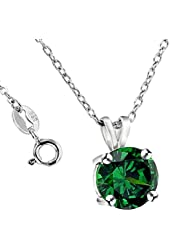.925 Sterling Silver 2 Carat Total Weight Green Cubic Zirconia Pendant Necklace,18