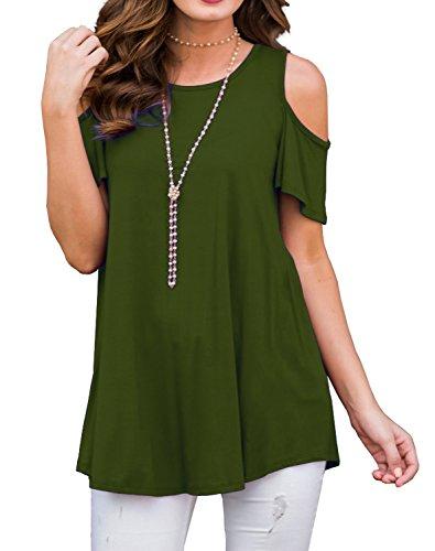 Chvity Women's Fancy Strappy Shirts Casual Loose Top Short Sleeve Tunics (XL, Army (Army Fancy Dress)