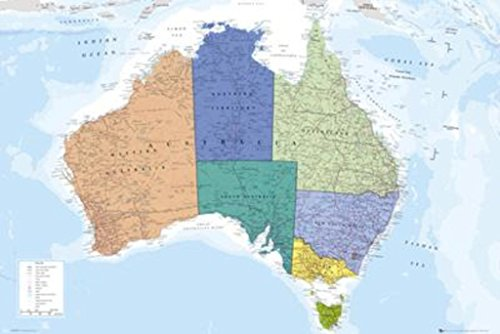 Political Map of Australia Art Print Poster - 24x36 Poster Print, 36x24