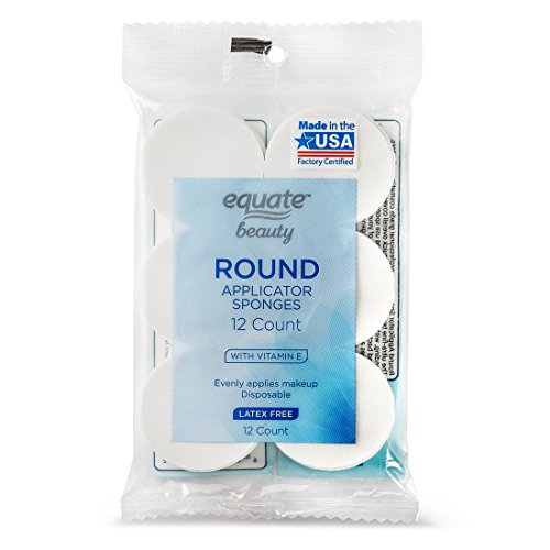 Equate Beauty Round Makeup Applicator Sponges with Vitamin E, 12 Count! Evenly applies makeup. Latex-free. Disposable. High Quality, Professional Grade Cosmetic Applicators. Made in the USA!