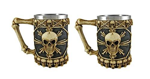 2 Pack Tankard Set - Ossuary Skull Beer Stein Set of 2 Tankard Skulls