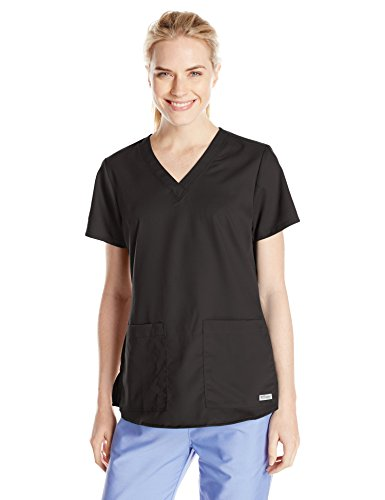 Pocket Scrub Top (Grey's Anatomy Women's Two Pocket V-Neck Scrub Top with Shirring Back, Black, Medium)