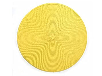Lovely Yellow Round Placemats Plastic Wipe Off Set Of 4 Table Mats Reversible  15u0026quot;