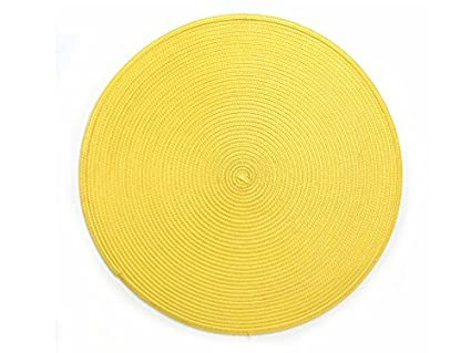 Yellow Round Placemats Plastic Wipe Off Set Of 4 Table Mats Reversible  15u0026quot;