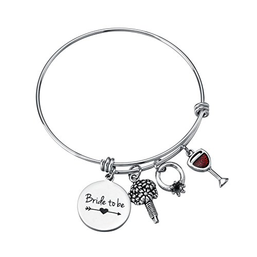 Miss Pink Bride to Be Gifts Bachelorette Party Bridal Shower Bangle Wedding Charm Bracelet Engagement Jewelry for Woman ()