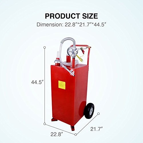 SUNCOO 30 Gallon Portable Gas Tank Diesel Fuel Caddy Storage Containers Pump & Hose Tube, Red by SUNCOO (Image #2)
