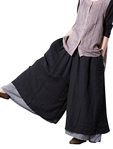 Mordenmiss Womens Casual Loose Fit Layers Wide Leg Pants, Black,One Size