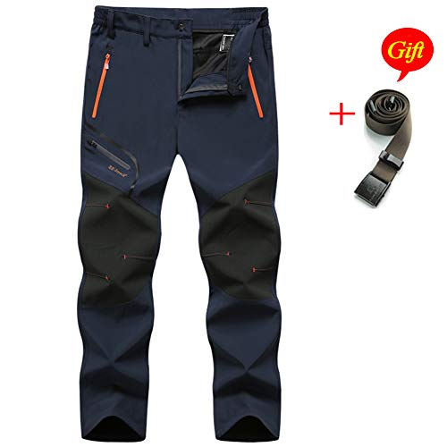 MirFreyr Mens Outdoor Waterproof Hiking Trousers Camping Climbing Fishing Trekking Softshell Thin Pants (Grey(no Fleece ), M) ()